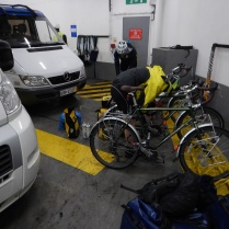 Bikes on trucker floor of ferry