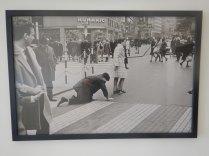 Famous Mumok piece, woman with man on collar, Vienna, 6 Aug