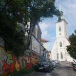Looking up at the Blue Church, Bratislava, 7 Aug