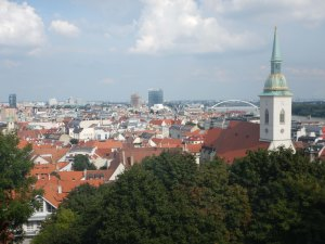 View from castle onto Blue Church, Bratislava, 7 Aug