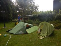 Setting up camp in the garden the next day, Belgrade, 15 Aug
