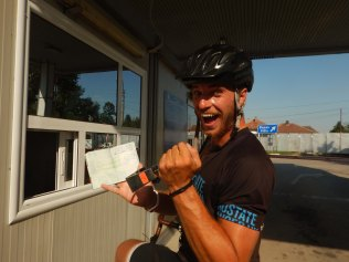 Stamping our own passports at the Bulgarian border, 20 Aug