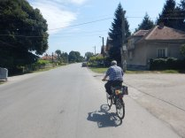 Our plum picker leading us to the only restaurant in Selanovtsi, 22 Aug