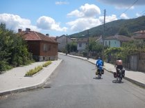 Riding up 600m to Turkish border from Malko Tarnovo, 29 Aug