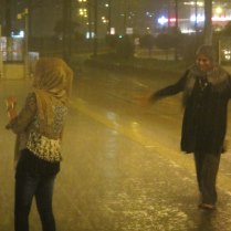 Very heavy rain after dinner with journalist Ben, Istanbul, 3 Sept