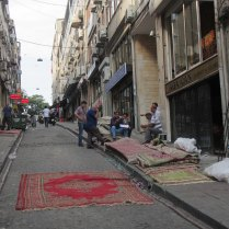 Distressing the carpets down our hill, Istanbul, 4 Sept