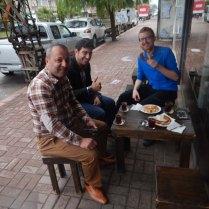 Interest at breakfast in Karasu, 18 Sept 14