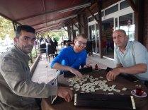 Mehmet teaching us Okey in Alapli, 18 Sept 14