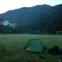 Camping on a very cold football pitch, reminiscent of Germany, 8 Oct 14