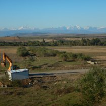First view of snowcapped Caucasus, 10 Oct 14