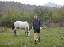 Feeding horses at our breakfast stop, 17 Oct 14