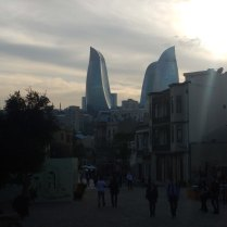 View towards new Flame Towers, Baku, 23 Oct 14