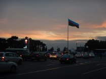 Sunrise on our visa run to the Turkmen Consulate, Baku, 24 Oct 14