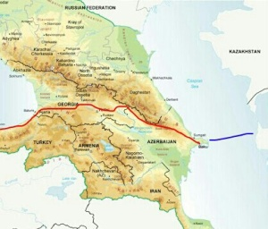 Caucasus regional map with our rough planned route in red