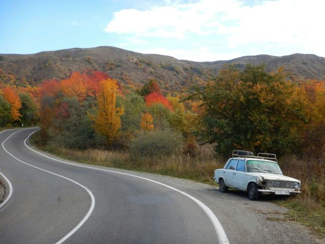 Autumn colours on Gombori Pass