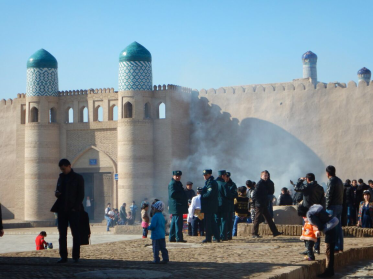 Police presence in the old town, Khiva, 9 Nov 14