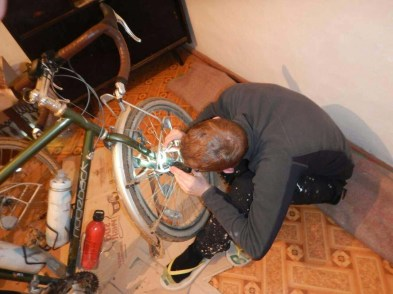 Necessary bike repairs on Day One