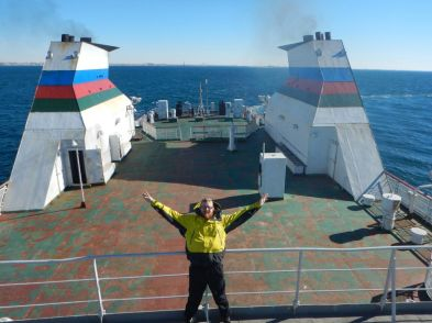 Running around on top deck