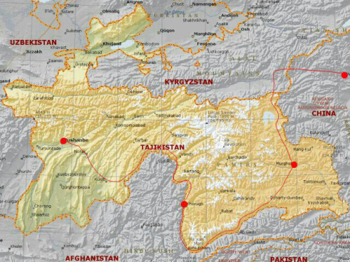 From Dushanbe to Khorog (middle dot)