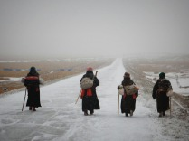Woman travellers on the Tibetan plateau, Feb 2015