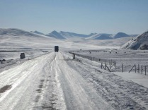 Icy road on the Tibetan plateau, Feb 2015
