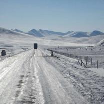 Icy road on the Tibetan plateau, Feb 2015