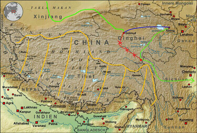 Tibetan Plateau On World Map.The Rooftop Of The World Tibetan Plateau To Yushu 3 Feb Journey