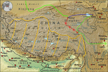 Things get complicated: in green, our route from the Taklamakan and onto the Tibetan plateau, via an enforced overnight bus to Xining (in blue); in red, our original barred route; hashed in yellow, the TAR.
