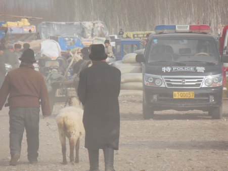 Outside Kashgar market, 4 Jan 15