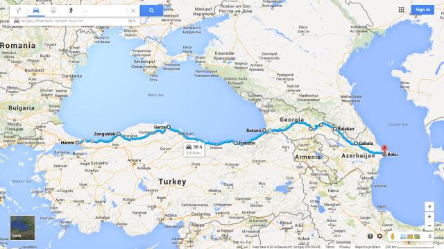 Istanbul to Baku 15 Sept-23 Oct 2014