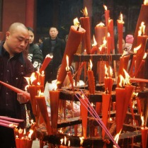 Celebrating New Year at a temple near Chongqing, 23 Feb 15
