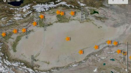The stars mark where we slept across Xinjiang. Spot the Taklamakan crossing star.