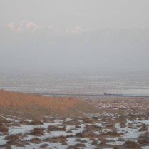 A 32-wheel flatbed truck makes its way along the Northern Road, 9 Jan 15