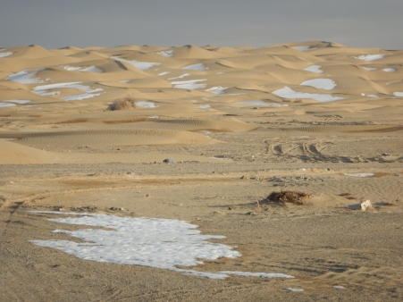 Scrubland turns into snowcapped dunes, 12 Jan 15