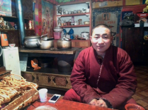 Tea with a monk - his iPhone on the table