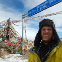 Summiting a high climb out of Yushu