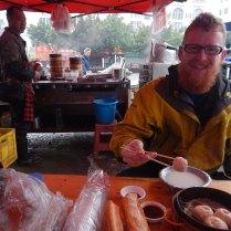 Fr Christmas enjoys breakfast dumplings, 15 Mar 15