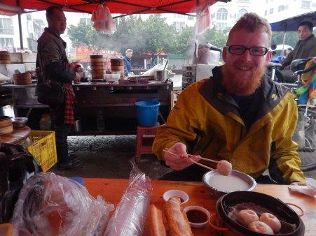 Fr Christmas enjoys his breakfast dumplings