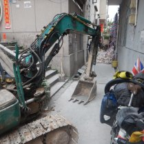 Demolition outside our accommodation, 25 Mar 15
