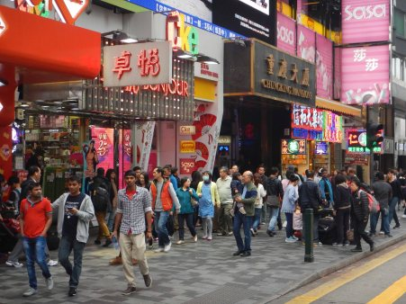 Famous Chungking Mansions in Kowloon, a long way from the desert